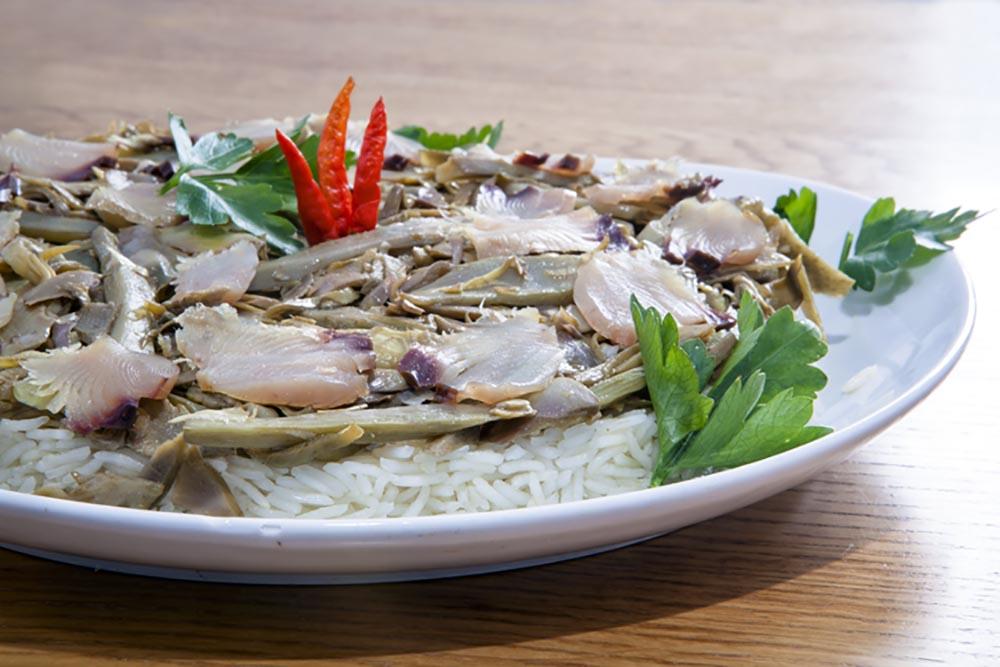 Palamita affumicata con riso